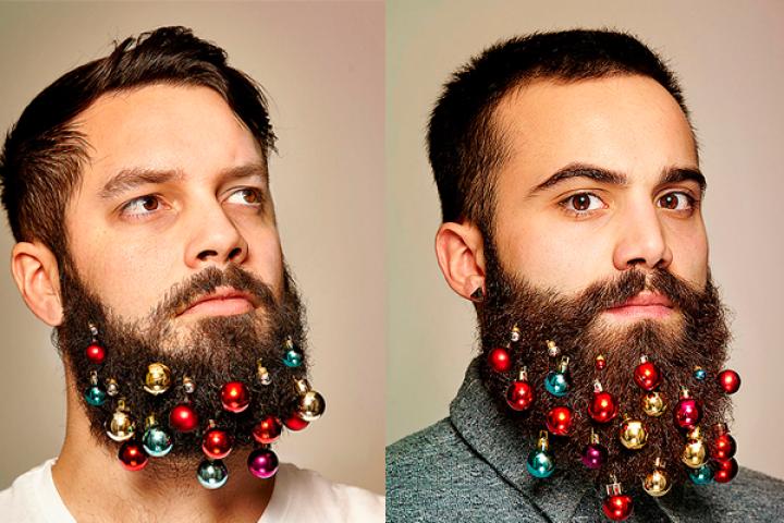 kerstballen baard